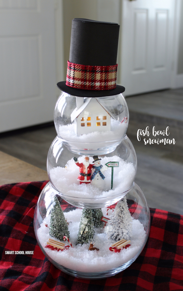 Best DIY Ideas for Wintertime - Fish Bowl Snowman - Winter Crafts with Snowflakes, Icicle Art and Projects, Wreaths, Woodland and Winter Wonderland Decor, Mason Jars and Dollar Store Ideas - Easy DIY Ideas to Decorate Home and Room for Winter - Creative Home Decor and Room Decorations for Adults, Teens and Kids #diy #winter #crafts