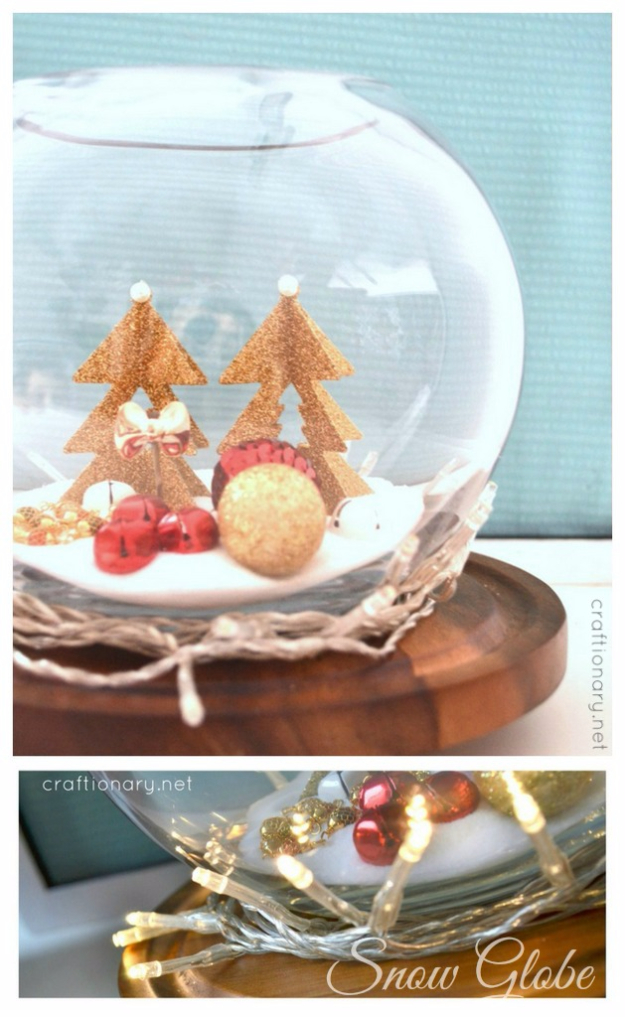 Cool Ways To Use Christmas Lights - Fish Bowl String Light Snow Globe - Best Easy DIY Ideas for String Lights for Room Decoration, Home Decor and Creative DIY Bedroom Lighting #diy #christmas #homedecor