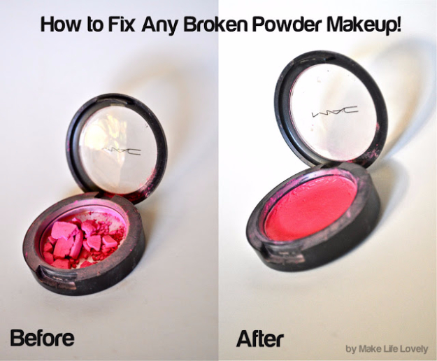 Cool DIY Makeup Hacks for Quick and Easy Beauty Ideas - Fix Any Broken Powder Or Makeup - How To Fix Broken Makeup, Tips and Tricks for Mascara and Eye Liner, Lipstick and Foundation Tutorials - Fast Do It Yourself Beauty Projects for Women