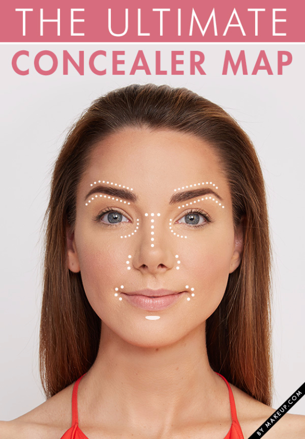 Cool DIY Makeup Hacks for Quick and Easy Beauty Ideas - Foolproof Concealer Map - How To Fix Broken Makeup, Tips and Tricks for Mascara and Eye Liner, Lipstick and Foundation Tutorials - Fast Do It Yourself Beauty Projects for Women