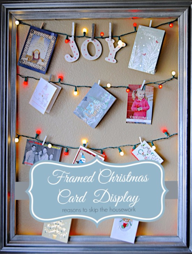 Cool Ways To Use Christmas Lights - Framed Christmas Card Display - Best Easy DIY Ideas for String Lights for Room Decoration, Home Decor and Creative DIY Bedroom Lighting #diy #christmas #homedecor