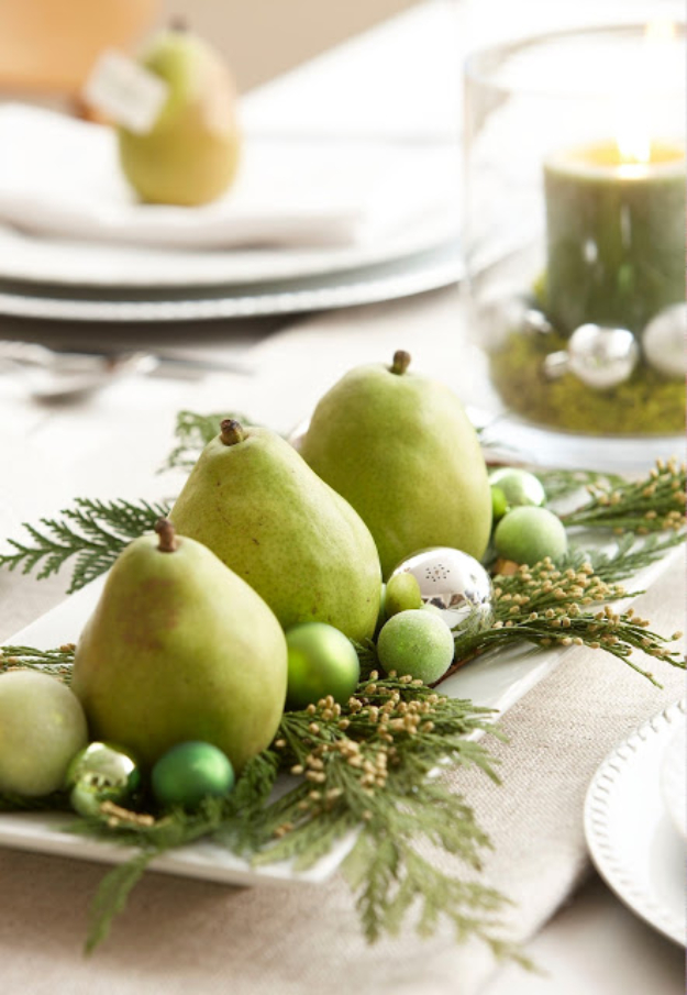 DIY Christmas Centerpieces - Fresh Fruit Table Centerpiece - Simple, Easy Holiday Decorating Ideas on A Budget- cheap dollar store crafts holiday #holiday #crafts #christmas