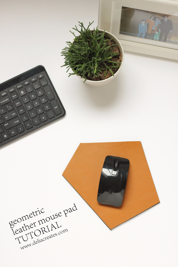 DIY Gifts for Friends - Christmas Gift Idea for Neighbor - - Geometric Leather Mouse Pad - Cute Mason Jar Crafts, Gift Baskets and Cheap and Easy Gift Ideas to Make for Friends - Do It Yourself Projects You Can Sew and Craft That Make Awesome DIY Gifts and Homemade Christmas Presents #diygifts #christmasgifts #xmasgifts