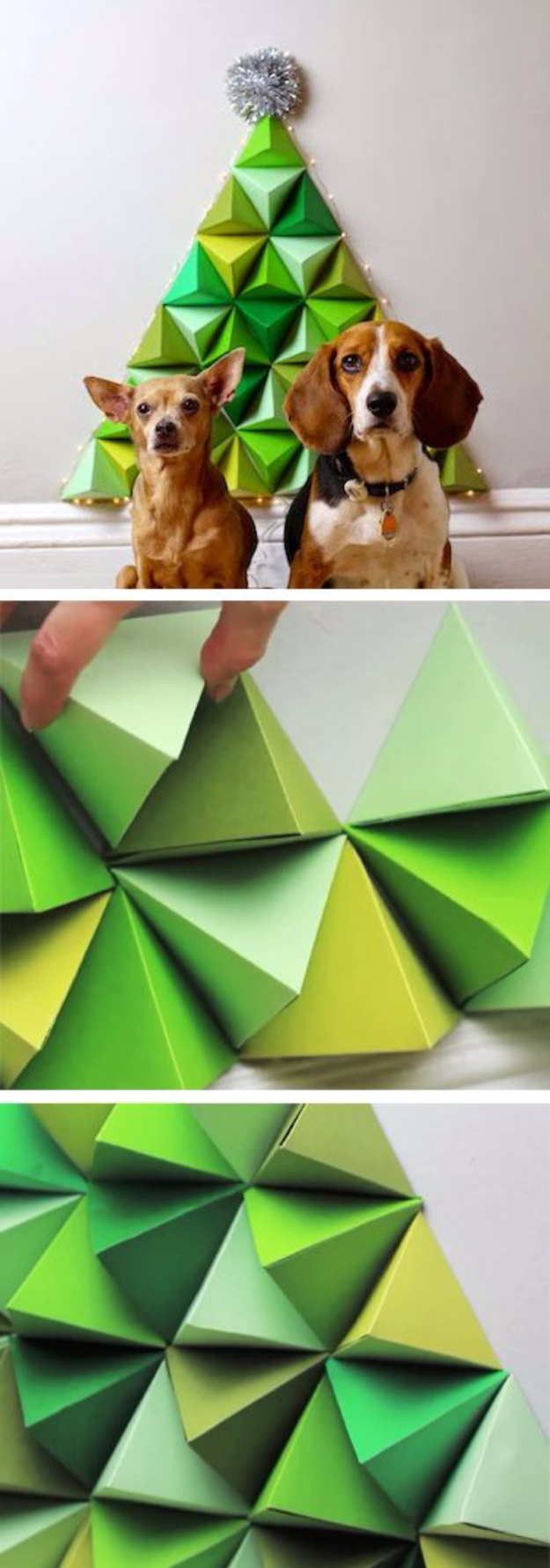 Best DIY Ideas for Your Christmas Tree - Geometric Paper Christmas Tree - Cool Handmade Ornaments, DIY Decorating Ideas and Ornament Tutorials - Creative Ways To Decorate Trees on A Budget - Cheap Rustic Decor, Easy Step by Step Tutorials - Holiday Crafts for Kids and Gifts To Make For Friends and Family http://diyjoy.com/diy-ideas-christmas-tree
