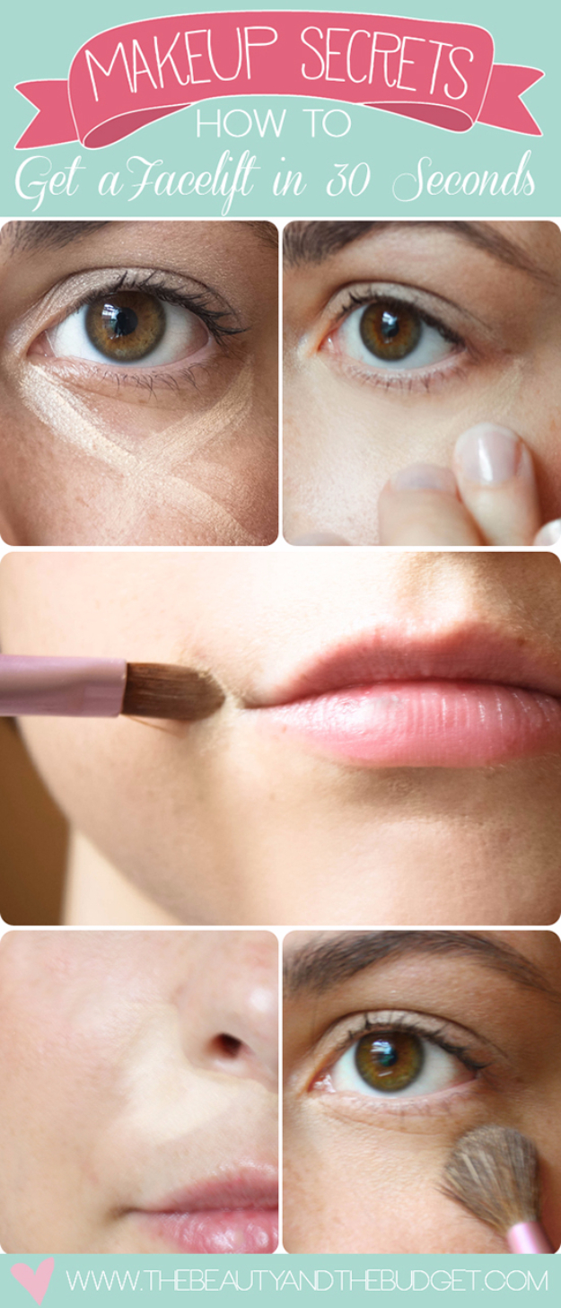 Cool DIY Makeup Hacks for Quick and Easy Beauty Ideas - Get A Facelift In 30 Seconds - How To Fix Broken Makeup, Tips and Tricks for Mascara and Eye Liner, Lipstick and Foundation Tutorials - Fast Do It Yourself Beauty Projects for Women http://diyjoy.com/makeup-hacks