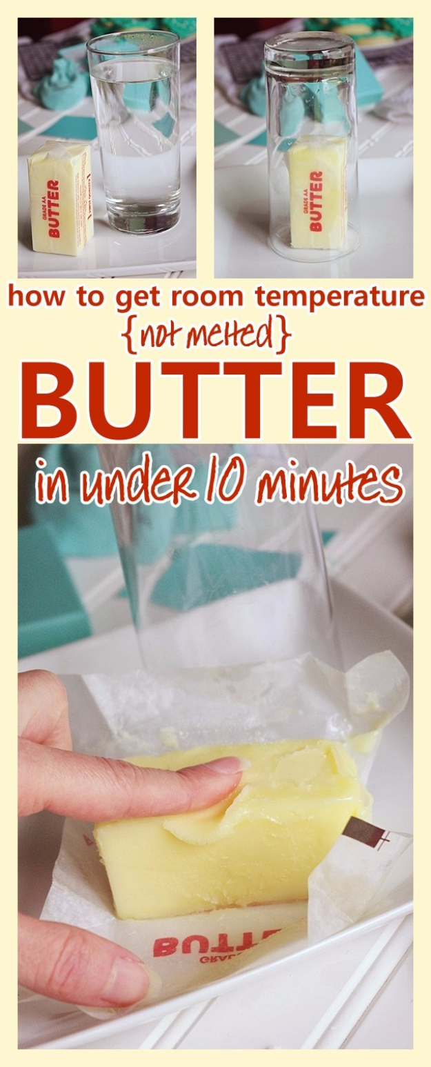 Best Baking Hacks - Get Softened Room Temperature Butter In Under 10 Minutes - DIY Cooking Tips and Tricks for Baking Recipes - Quick Ways to Bake Cake, Cupcakes, Desserts and Cookies - Kitchen Lifehacks for Bakers http://diyjoy.com/baking-hacks