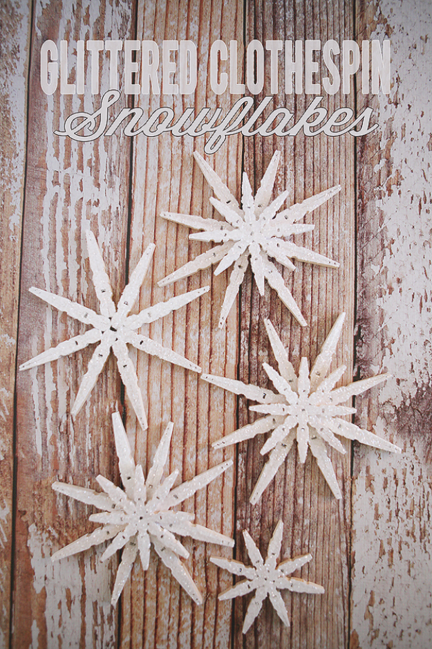 Best DIY Snowflake Decorations, Ornaments and Crafts - Glittered Clothespin Snowflakes - Paper Crafts with Snowflakes, Pipe Cleaner Projects, Mason Jars and Dollar Store Ideas - Easy DIY Ideas to Decorate for Winter#winter #crafts #diy