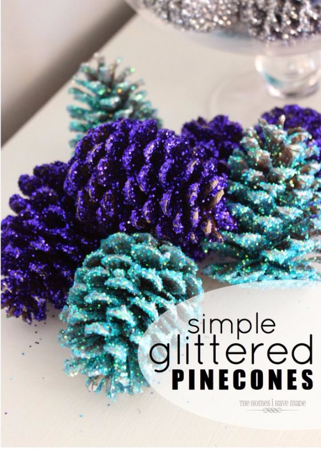 Best DIY Ideas for Wintertime - Glittered Pinecones - Winter Crafts with Snowflakes, Icicle Art and Projects, Wreaths, Woodland and Winter Wonderland Decor, Mason Jars and Dollar Store Ideas - Easy DIY Ideas to Decorate Home and Room for Winter - Creative Home Decor and Room Decorations for Adults, Teens and Kids #diy #winter #crafts