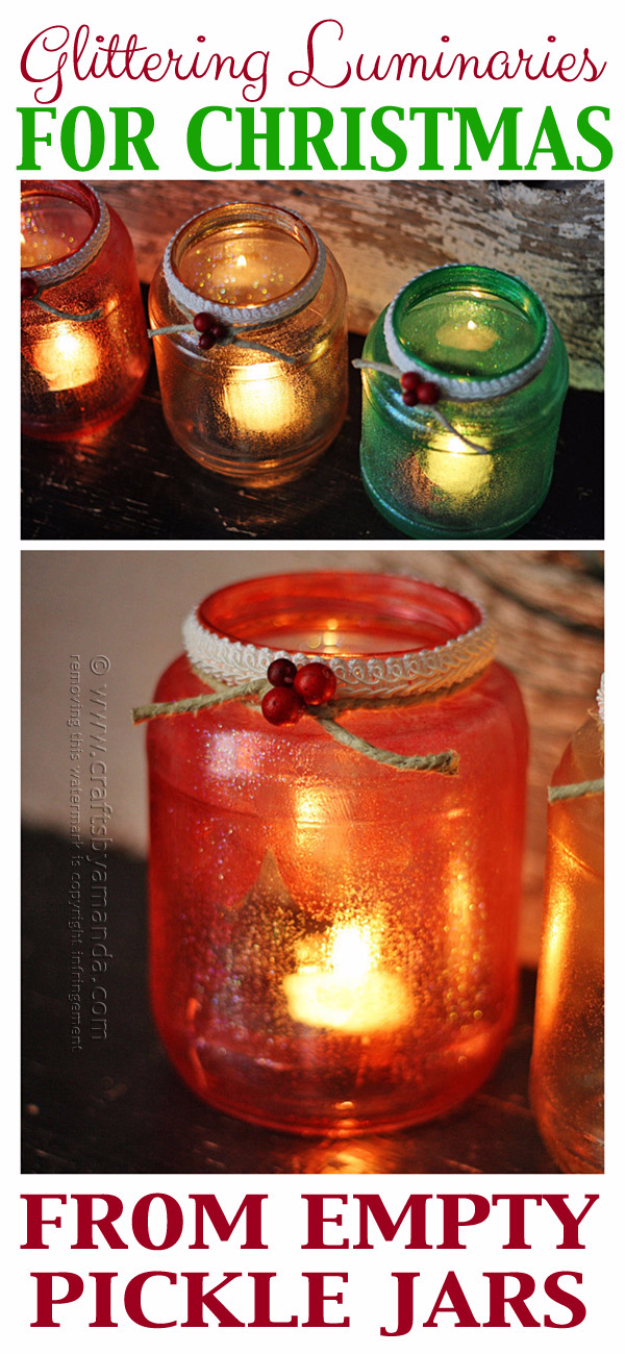DIY Christmas Luminaries and Home Decor for The Holidays - Glittering Luminaries For Christmas - Cool Candle Holders, Tea Lights, Holiday Gift Ideas, Christmas Crafts for Kids #diy #luminaries #christmas