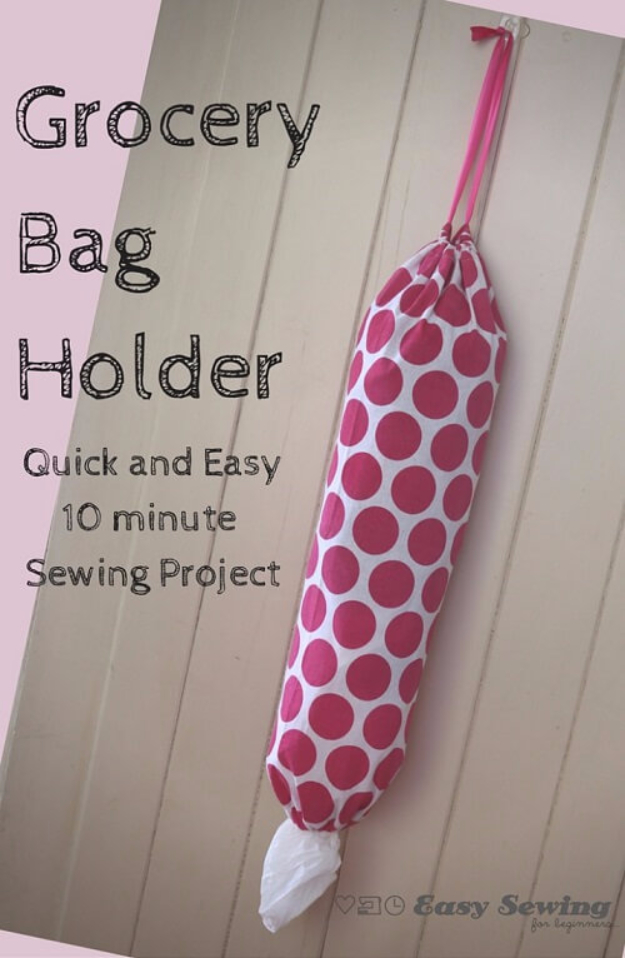 DIY Sewing Projects for the Kitchen - Grocery Bag Holder - Easy Sewing Tutorials and Patterns for Towels, napkinds, aprons and cool Christmas gifts for friends and family - Rustic, Modern and Creative Home Decor Ideas #sewing #sewingprojects #sewingcrafts #kitchen