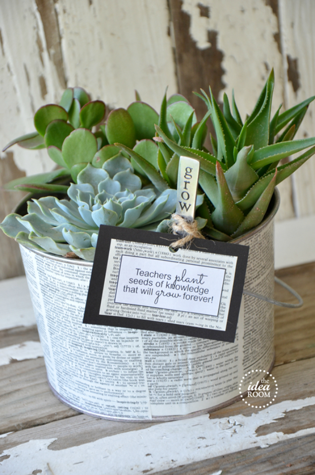 DIY Teacher Gifts - Grow A Succulent Garden Teacher Gift - Cheap and Easy Presents and DIY Gift Ideas for Teachers at Christmas, End of Year, First Day and Birthday - Teacher Appreciation Gifts and Crafts - Cute Mason Jar Ideas and Thoughtful, Unique Gifts from Kids #diygifts #teachersgifts #diyideas #cheapgifts