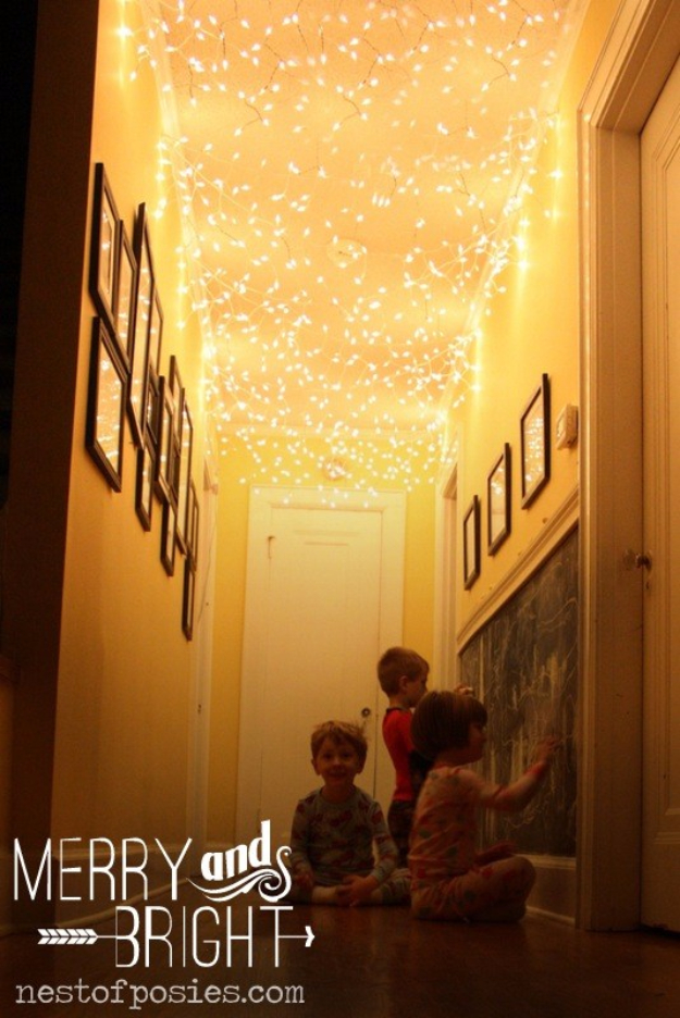 Cool Ways To Use Christmas Lights - Hallway Twinkle Lights - Best Easy DIY Ideas for String Lights for Room Decoration, Home Decor and Creative DIY Bedroom Lighting #diy #christmas #homedecor
