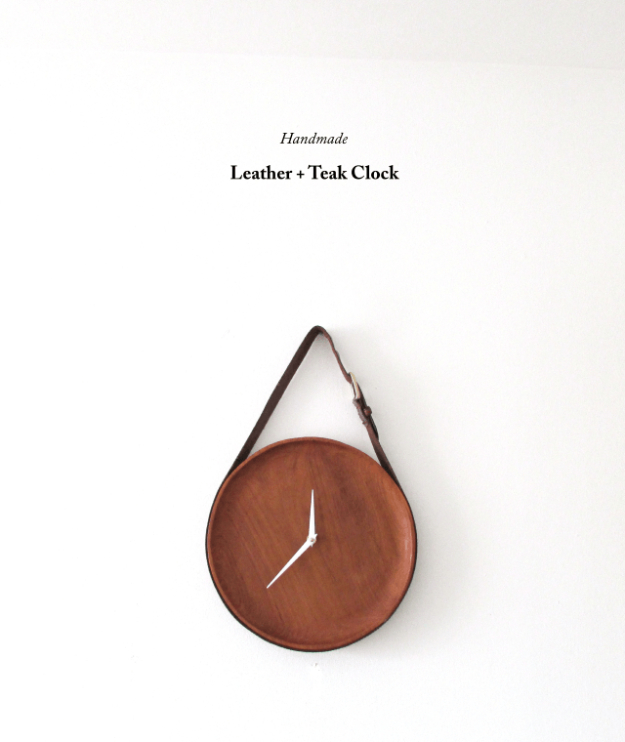 DIY Gifts for Friends - Christmas Gift Idea for Neighbor - - Handmade Leather And Teak Clock - Cute Mason Jar Crafts, Gift Baskets and Cheap and Easy Gift Ideas to Make for Friends - Do It Yourself Projects You Can Sew and Craft That Make Awesome DIY Gifts and Homemade Christmas Presents #diygifts #christmasgifts #xmasgifts