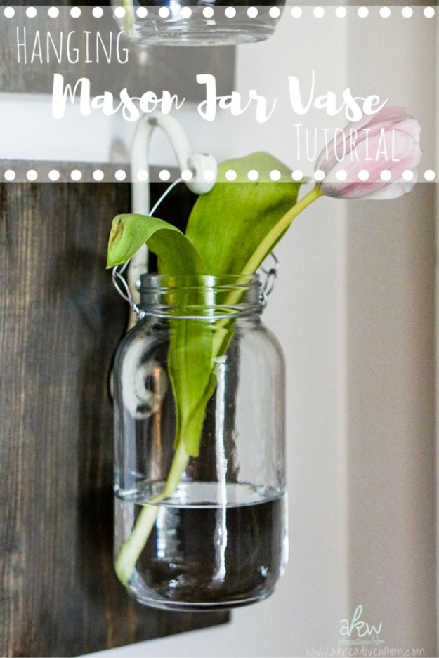 DIY Farmhouse Style Decor Ideas for the Kitchen - Hanging Mason Jar Vase - Rustic Farm House Ideas for Furniture, Paint Colors, Farm House Decoration for Home Decor in The Kitchen - Wall Art, Rugs, Countertops, Lights and Kitchen Accessories #farmhouse #diydecor
