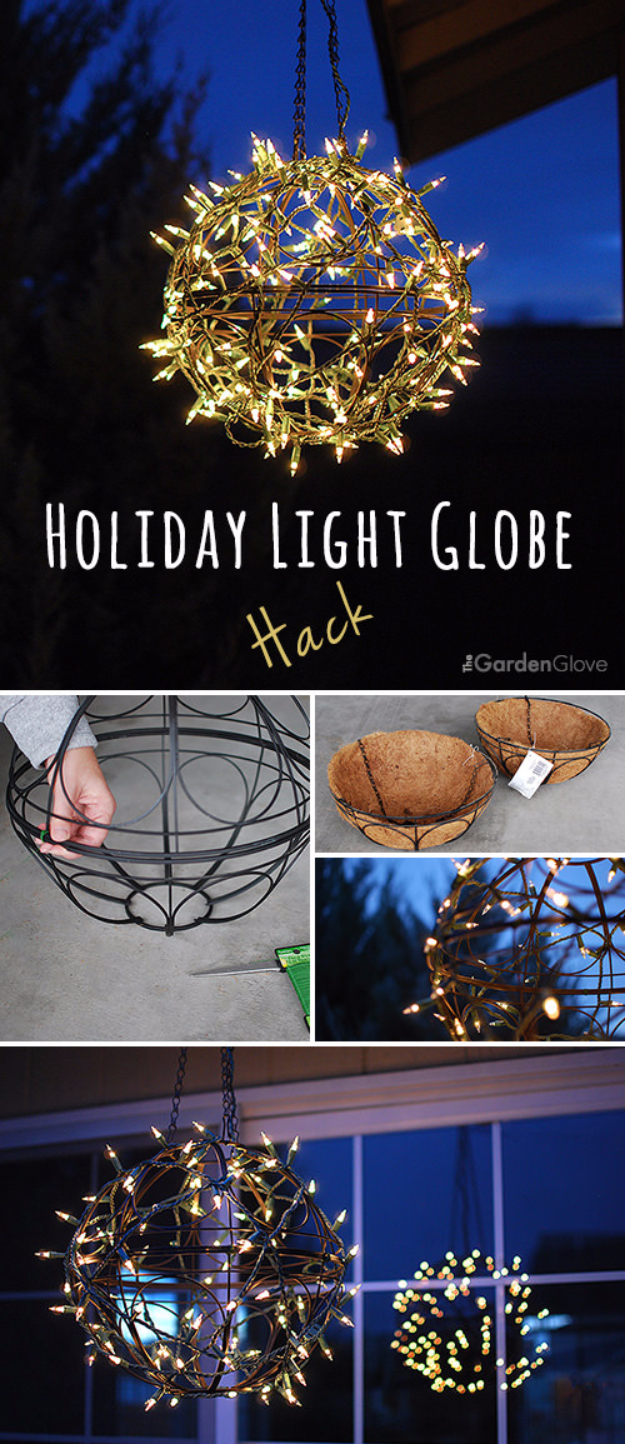Cool Ways To Use Christmas Lights - Holiday Light Globe Hack - Best Easy DIY Ideas for String Lights for Room Decoration, Home Decor and Creative DIY Bedroom Lighting #diy #christmas #homedecor