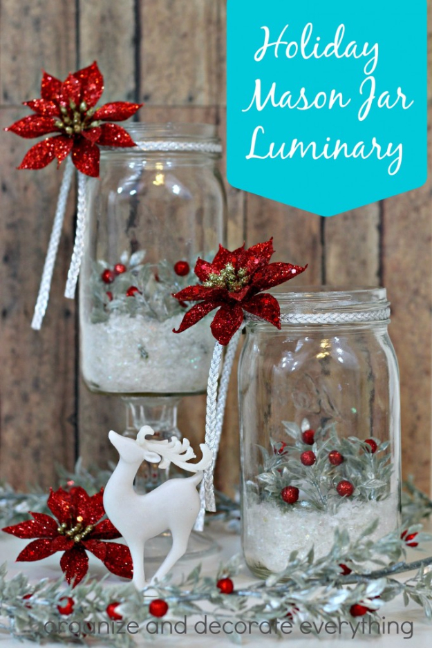 DIY Christmas Luminaries and Home Decor for The Holidays - Holiday Mason Jar Luminary - Cool Candle Holders, Tea Lights, Holiday Gift Ideas, Christmas Crafts for Kids #diy #luminaries #christmas