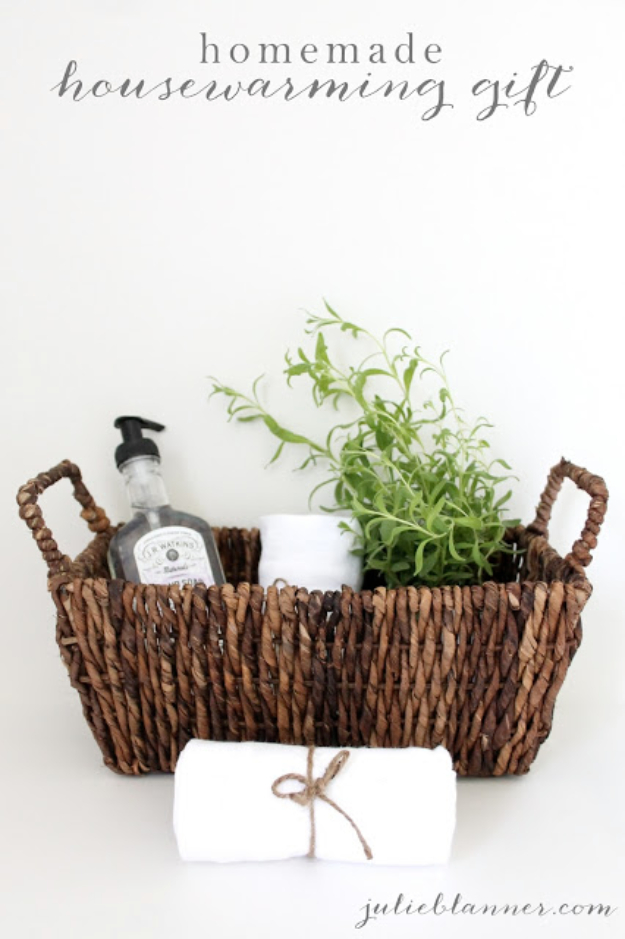 DIY Housewarming Gifts - Homemade Housewarming Gift- Best Do It Yourself Gift Ideas for Friends With A New House, Home or Apartment - Creative, Cheap and Quick Crafts and DIY Ideas for Housewarming Presents - Mason Jar Gifts, Baskets, Gifts for Women and Men http://diyjoy.com/diy-housewarming-gifts