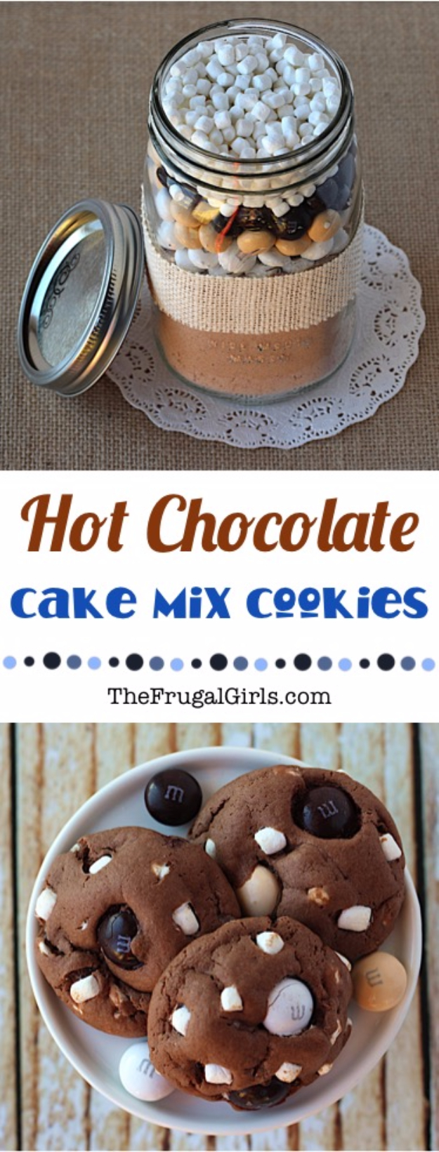 Best Mason Jar Cookies - Hot Chocolate Cake Mix Cookies - Mason Jar Cookie Recipe Mix for Cute Decorated DIY Gifts - Easy Chocolate Chip Recipes, Christmas Presents and Wedding Favors in Mason Jars - Fun Ideas for DIY Parties and Cheap Last Minute Gift Ideas for Friends #diygifts #masonjarcrafts