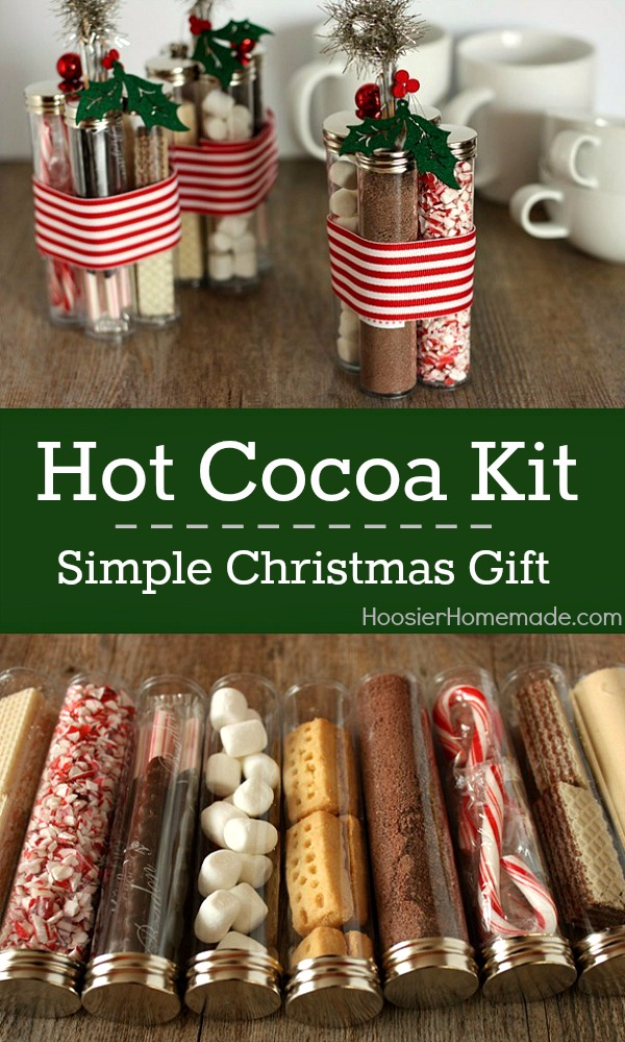 diy ideas for winter - Hot Cocoa Kit Holiday Gift - Winter Crafts with Snowflakes, Icicle Art and Projects, Wreaths, Woodland and Winter Wonderland Decor, Mason Jars and Dollar Store Ideas - Easy DIY Ideas to Decorate Home and Room for Winter #diy #winter #crafts