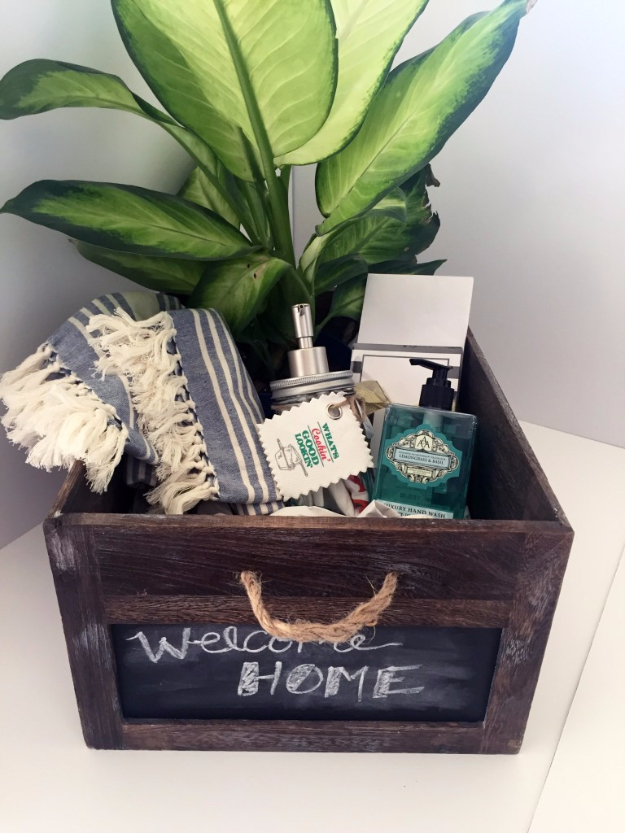 DIY Housewarming Gifts - Housewarming Gift In A Crate- Best Do It Yourself Gift Ideas for Friends With A New House, Home or Apartment - Creative, Cheap and Quick Crafts and DIY Ideas for Housewarming Presents - Mason Jar Gifts, Baskets, Gifts for Women and Men #diygifts #housewarming #diyideas #cheapgifts