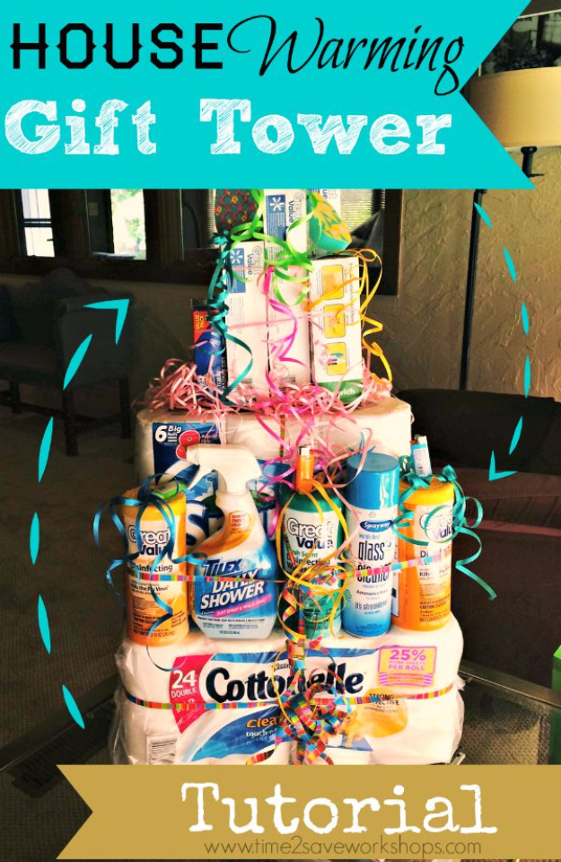 DIY Housewarming Gifts - Housewarming Gift Tower- Best Do It Yourself Gift Ideas for Friends With A New House, Home or Apartment - Creative, Cheap and Quick Crafts and DIY Ideas for Housewarming Presents - Mason Jar Gifts, Baskets, Gifts for Women and Men #diygifts #housewarming #diyideas #cheapgifts