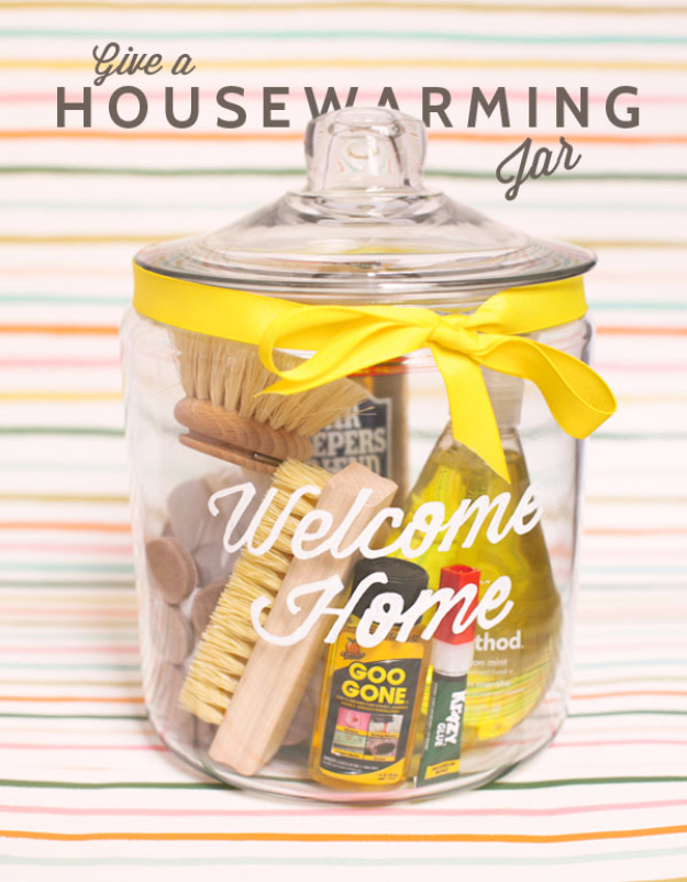DIY Housewarming Gifts - Housewarming Jar DIY- Best Do It Yourself Gift Ideas for Friends With A New House, Home or Apartment - Creative, Cheap and Quick Crafts and DIY Ideas for Housewarming Presents - Mason Jar Gifts, Baskets, Gifts for Women and Men http://diyjoy.com/diy-housewarming-gifts