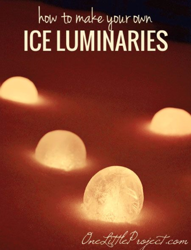 Best DIY Ideas for Wintertime - Ice Luminaries - Winter Crafts with Snowflakes, Icicle Art and Projects, Wreaths, Woodland and Winter Wonderland Decor, Mason Jars and Dollar Store Ideas - Easy DIY Ideas to Decorate Home and Room for Winter - Creative Home Decor and Room Decorations for Adults, Teens and Kids #diy #winter #crafts
