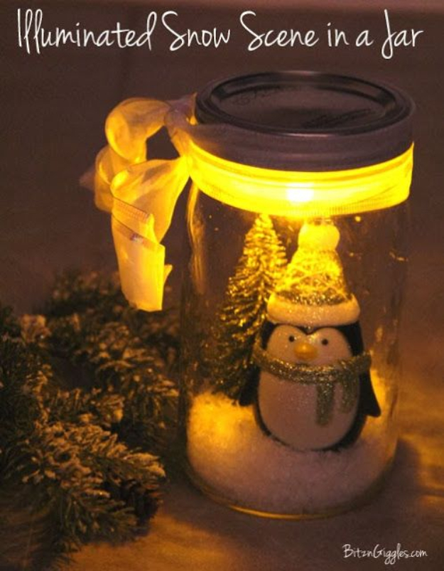 DIY Christmas Luminaries and Home Decor for The Holidays - Illuminated Snow Scene In A Jar - Cool Candle Holders, Tea Lights, Holiday Gift Ideas, Christmas Crafts for Kids #diy #luminaries #christmas