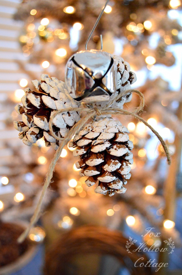 Best DIY Ornaments for Your Tree - Best DIY Ornament Ideas for Your Christmas Tree - Jingle Bell Pinecone Ornament - Cool Handmade Ornaments, DIY Decorating Ideas and Ornament Tutorials - Creative Ways To Decorate Trees on A Budget - Cheap Rustic Decor, Easy Step by Step Tutorials - Holiday Crafts for Kids and Gifts To Make For Friends and Family