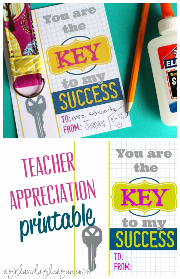 DIY Teacher Gifts - Key To My Success Teacher Gift - Cheap and Easy Presents and DIY Gift Ideas for Teachers at Christmas, End of Year, First Day and Birthday - Teacher Appreciation Gifts and Crafts - Cute Mason Jar Ideas and Thoughtful, Unique Gifts from Kids http://diyjoy.com/diy-teacher-gifts