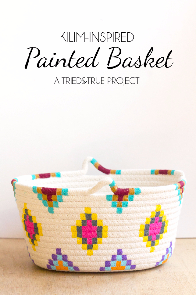 Creative Crafts Made With Baskets - Kilim Inspired Painted Basket - DIY Storage and Organizing Ideas, Gift Basket Ideas, Best DIY Christmas Presents and Holiday Gifts, Room and Home Decor with Step by Step Tutorials - Easy DIY Ideas and Dollar Store Crafts #crafts #diy