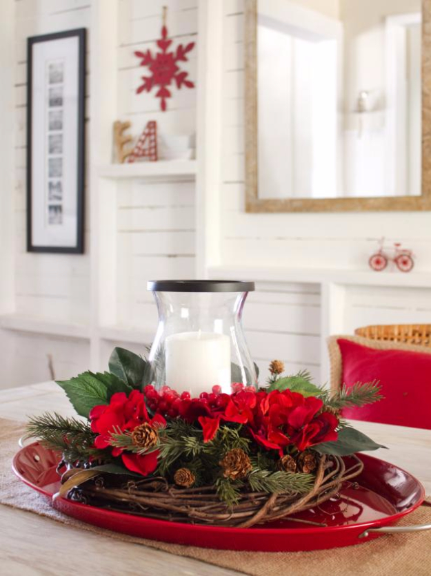 DIY Christmas Centerpieces - Layered Holiday Centerpiece - Simple, Easy Holiday Decorating Ideas on A Budget- cheap dollar store crafts holiday #holiday #crafts #christmas