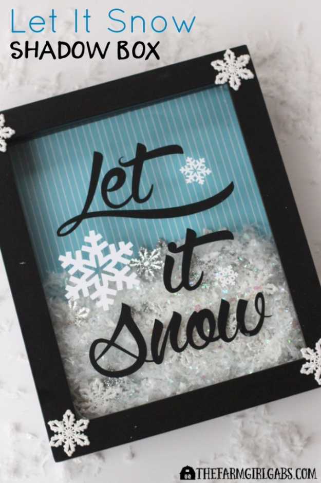 Best DIY Ideas for Wintertime - Let It Snow Shadow Box - Winter Crafts with Snowflakes, Icicle Art and Projects, Wreaths, Woodland and Winter Wonderland Decor, Mason Jars and Dollar Store Ideas - Easy DIY Ideas to Decorate Home and Room for Winter - Creative Home Decor and Room Decorations for Adults, Teens and Kids #diy #winter #crafts