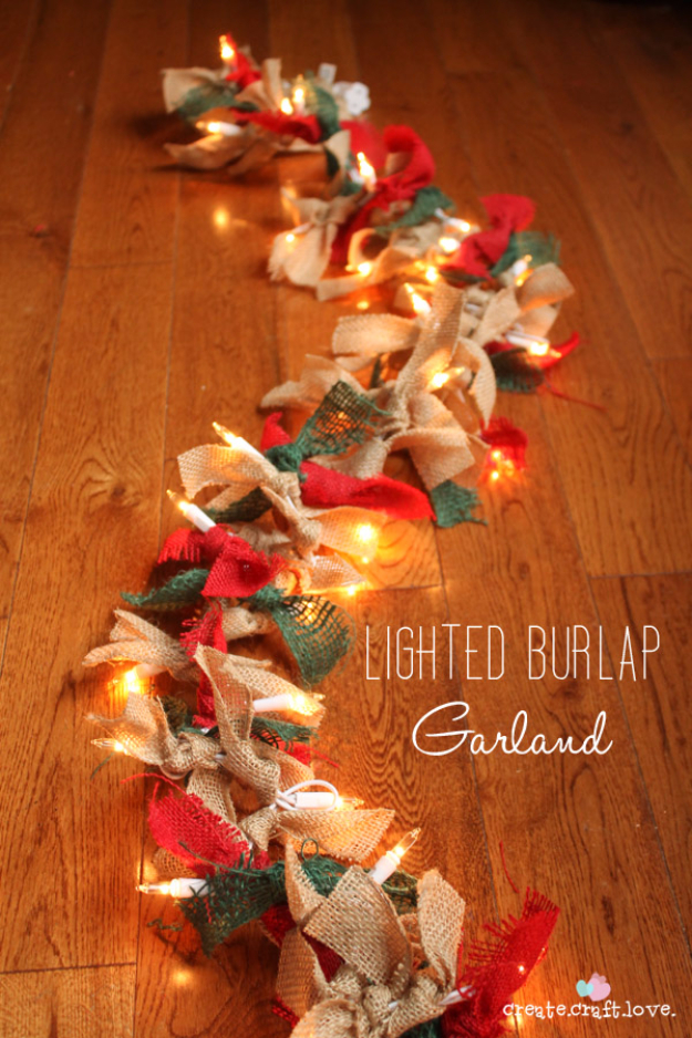 Cool Ways To Use Christmas Lights - Lighted Burlap Garland - Best Easy DIY Ideas for String Lights for Room Decoration, Home Decor and Creative DIY Bedroom Lighting #diy #christmas #homedecor