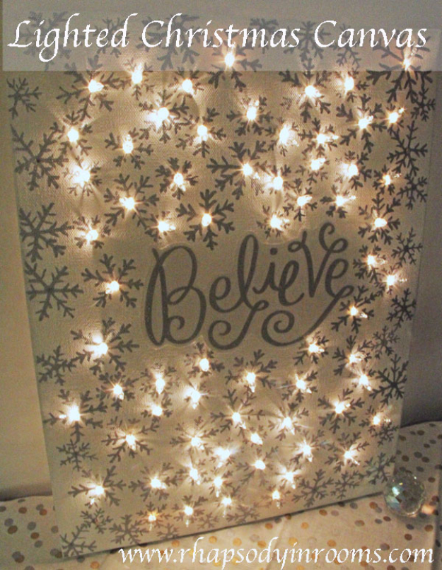 Cool Ways To Use Christmas Lights - Lighted Christmas Canvas - Best Easy DIY Ideas for String Lights for Room Decoration, Home Decor and Creative DIY Bedroom Lighting #diy #christmas #homedecor