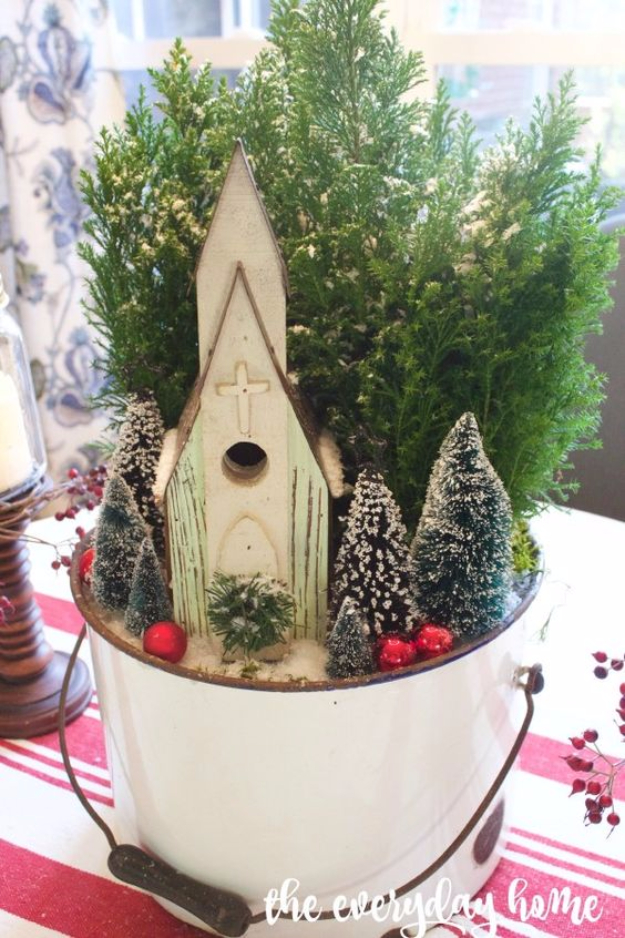 DIY Christmas Centerpieces - Little Church In The Woods Christmas Centerpiece - Simple, Easy Holiday Decorating Ideas on A Budget- cheap dollar store crafts holiday #holiday #crafts #christmas
