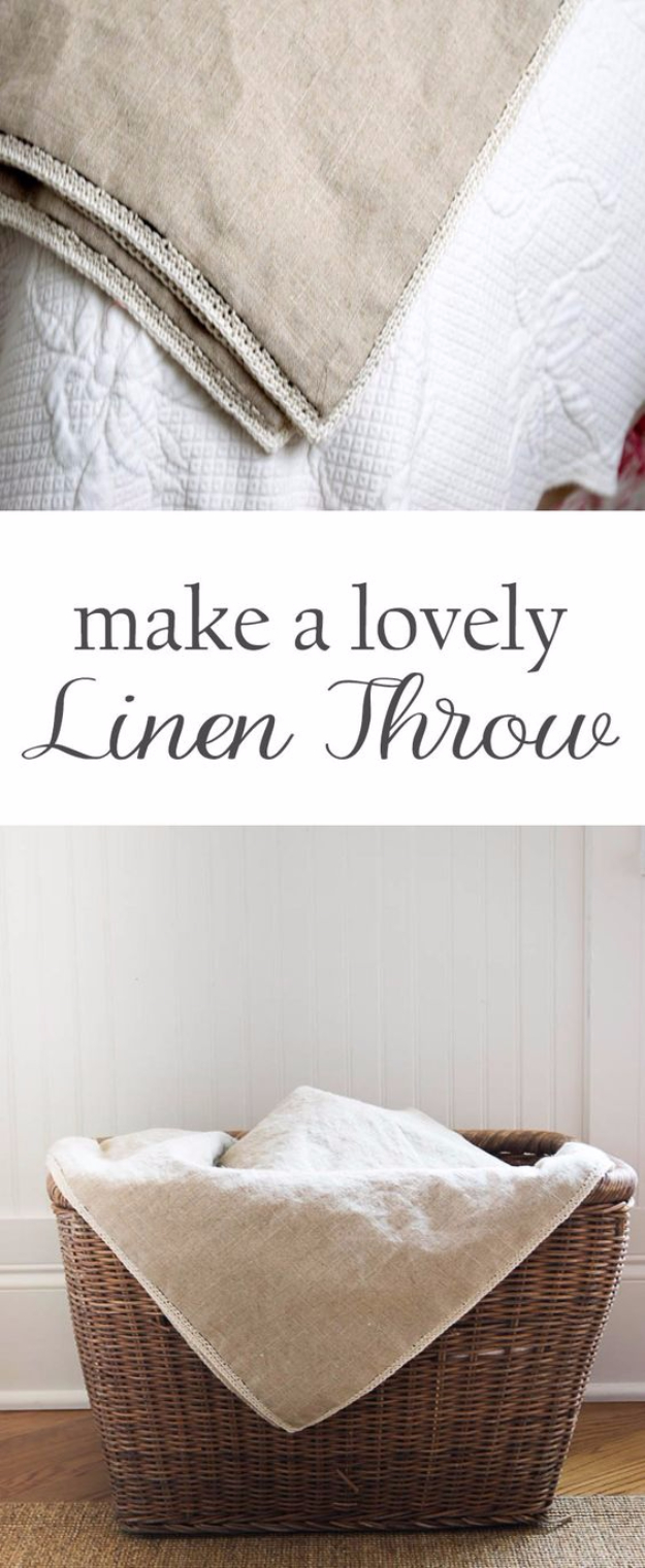 DIY Blankets and Throws - Lovely Linen Throw - How To Make Easy Home Decor and Warm Covers for Women, Kids, Teens and Adults - Fleece, Knit, No Sew and Easy Projects to Make for Bed and Sofa - Creative Blanket Sewing Projects and Crafts http://diyjoy.com/diy-blankets-throws