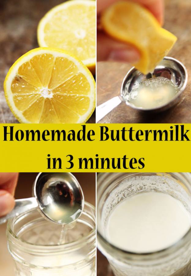 Best Baking Hacks - Make Your Own Buttermilk - DIY Cooking Tips and Tricks for Baking Recipes - Quick Ways to Bake Cake, Cupcakes, Desserts and Cookies - Kitchen Lifehacks for Bakers