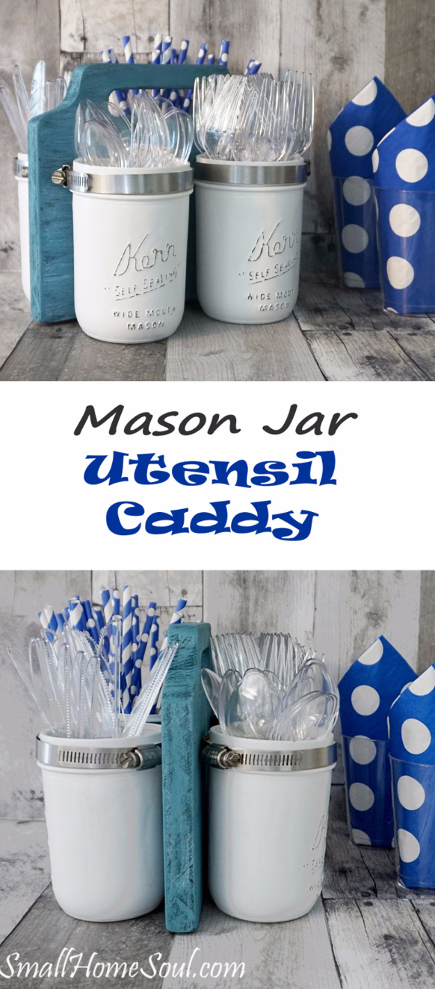 DIY Farmhouse Style Decor Ideas for the Kitchen - Mason Jar Utensil Caddy - Rustic Farm House Ideas for Furniture, Paint Colors, Farm House Decoration for Home Decor in The Kitchen - Wall Art, Rugs, Countertops, Lights and Kitchen Accessories #farmhouse #diydecor
