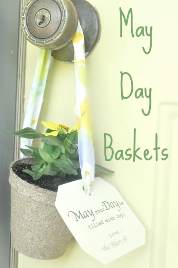 DIY Gifts for Friends - Christmas Gift Idea for Neighbor - - May Day Baskets - Cute Mason Jar Crafts, Gift Baskets and Cheap and Easy Gift Ideas to Make for Friends - Do It Yourself Projects You Can Sew and Craft That Make Awesome DIY Gifts and Homemade Christmas Presents #diygifts #christmasgifts #xmasgifts