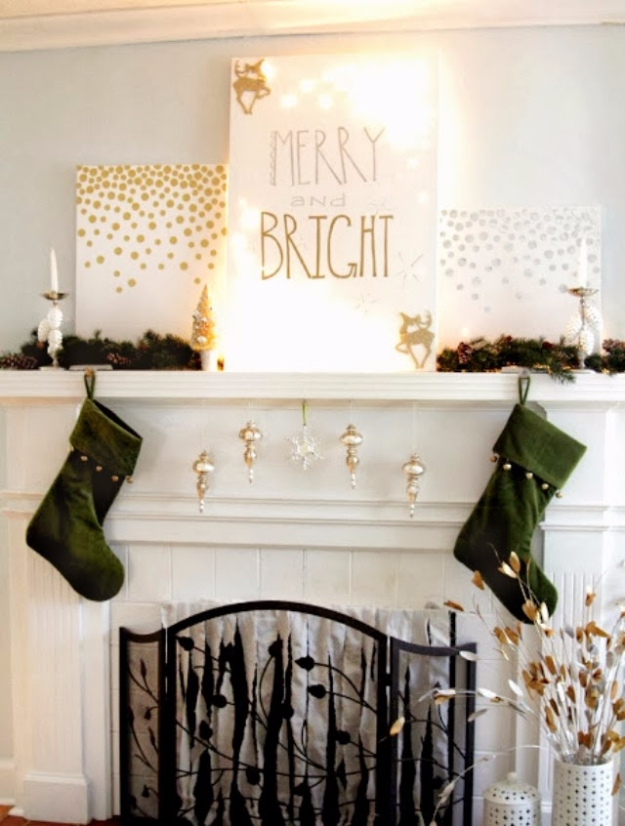 Cool Ways To Use Christmas Lights - Merry And Bright Mantel - Best Easy DIY Ideas for String Lights for Room Decoration, Home Decor and Creative DIY Bedroom Lighting #diy #christmas #homedecor