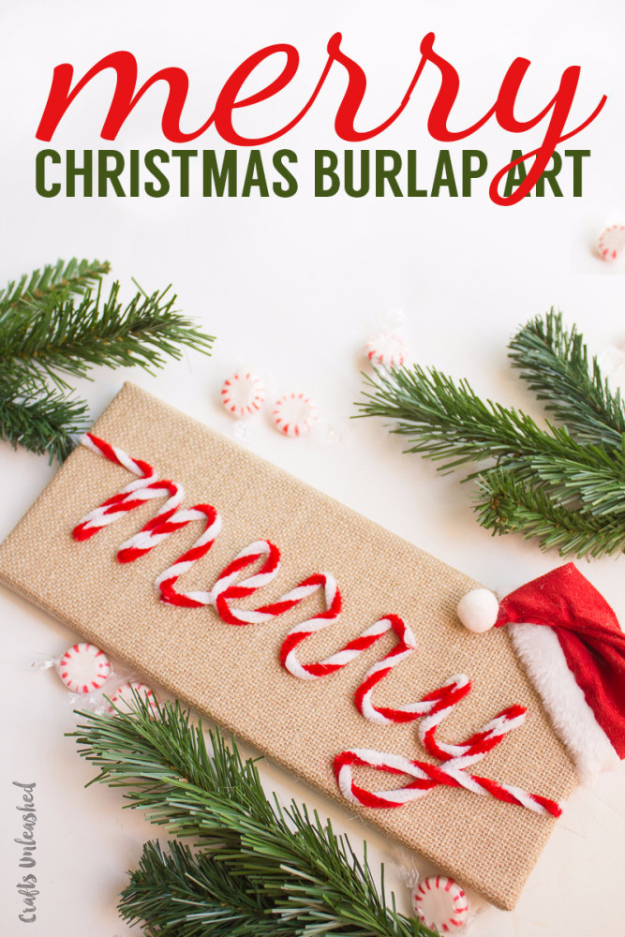 Best DIY Ideas for Wintertime - Merry Christmas Burlap Art - Winter Crafts with Snowflakes, Icicle Art and Projects, Wreaths, Woodland and Winter Wonderland Decor, Mason Jars and Dollar Store Ideas - Easy DIY Ideas to Decorate Home and Room for Winter - Creative Home Decor and Room Decorations for Adults, Teens and Kids #diy #winter #crafts