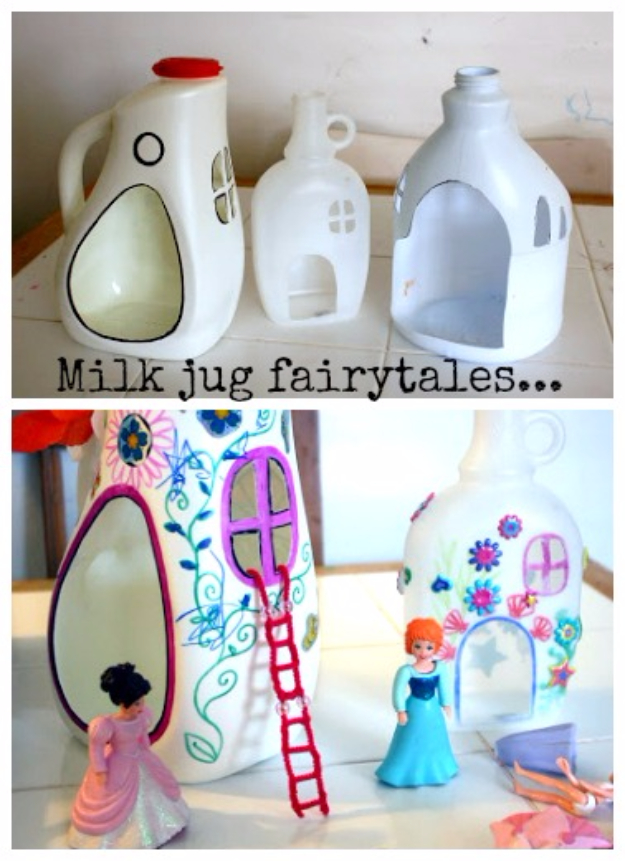 Cool DIY Projects Made With Plastic Bottles - Milk Jug Fairy Tale - Best Easy Crafts and DIY Ideas Made With A Recycled Plastic Bottle - Jewlery, Home Decor, Planters, Craft Project Tutorials - Cheap Ways to Decorate and Creative DIY Gifts for Christmas Holidays - Fun Projects for Adults, Teens and Kids