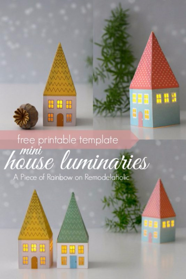 DIY Christmas Luminaries and Home Decor for The Holidays - Mini House Luminaries - Cool Candle Holders, Tea Lights, Holiday Gift Ideas, Christmas Crafts for Kids #diy #luminaries #christmas
