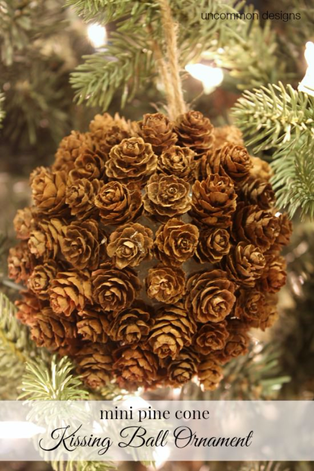 Best DIY Ornaments for Your Tree - Best DIY Ornament Ideas for Your Christmas Tree - Mini Pinecone Kissing Ball Ornament - Cool Handmade Ornaments, DIY Decorating Ideas and Ornament Tutorials - Creative Ways To Decorate Trees on A Budget - Cheap Rustic Decor, Easy Step by Step Tutorials - Holiday Crafts for Kids and Gifts To Make For Friends and Family