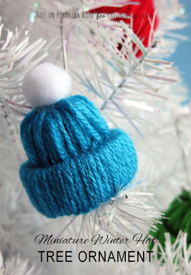 Best DIY Ornaments for Your Tree - Best DIY Ornament Ideas for Your Christmas Tree - Miniature Winter Hat Tree Ornament - Cool Handmade Ornaments, DIY Decorating Ideas and Ornament Tutorials - Creative Ways To Decorate Trees on A Budget - Cheap Rustic Decor, Easy Step by Step Tutorials - Holiday Crafts for Kids and Gifts To Make For Friends and Family