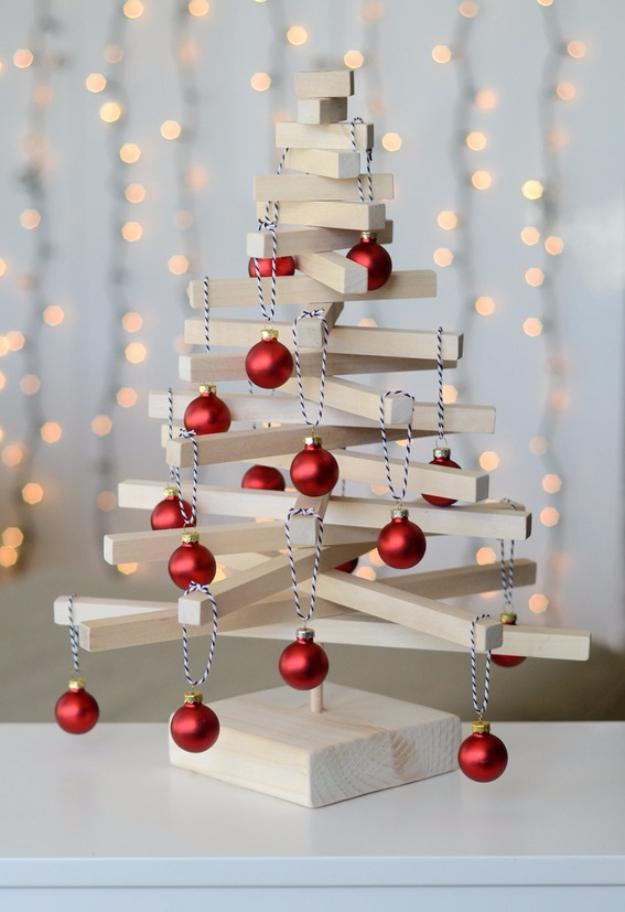 Cheap and Easy DIY Ideas for Your Christmas Tree - Modern Wooden Tabletop Christmas Tree - Cool Handmade Ornaments, DIY Decorating Ideas and Ornament Tutorials - Cheap Christmas Home Decor - Xmas Crafts #christmas #diy #crafts