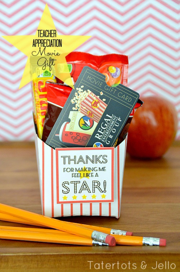 DIY Teacher Gifts - Movie Gift Card - Cheap and Easy Presents and DIY Gift Ideas for Teachers at Christmas, End of Year, First Day and Birthday - Teacher Appreciation Gifts and Crafts - Cute Mason Jar Ideas and Thoughtful, Unique Gifts from Kids http://diyjoy.com/diy-teacher-gifts