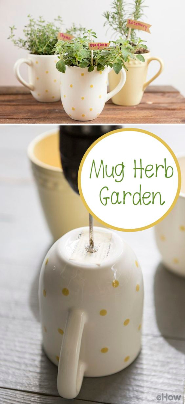 DIY Housewarming Gifts - Mug Herb Garden- Best Do It Yourself Gift Ideas for Friends With A New House, Home or Apartment - Creative, Cheap and Quick Crafts and DIY Ideas for Housewarming Presents - Mason Jar Gifts, Baskets, Gifts for Women and Men #diygifts #housewarming #diyideas #cheapgifts