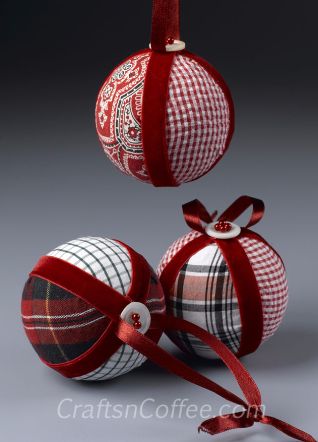 Best DIY Ornaments for Your Tree - Best DIY Ornament Ideas for Your Christmas Tree - No Sew Fabric Christmas Ornament - Cool Handmade Ornaments, DIY Decorating Ideas and Ornament Tutorials - Creative Ways To Decorate Trees on A Budget - Cheap Rustic Decor, Easy Step by Step Tutorials - Holiday Crafts for Kids and Gifts To Make For Friends and Family http://diyjoy.com/diy-ornaments-christmas-tree